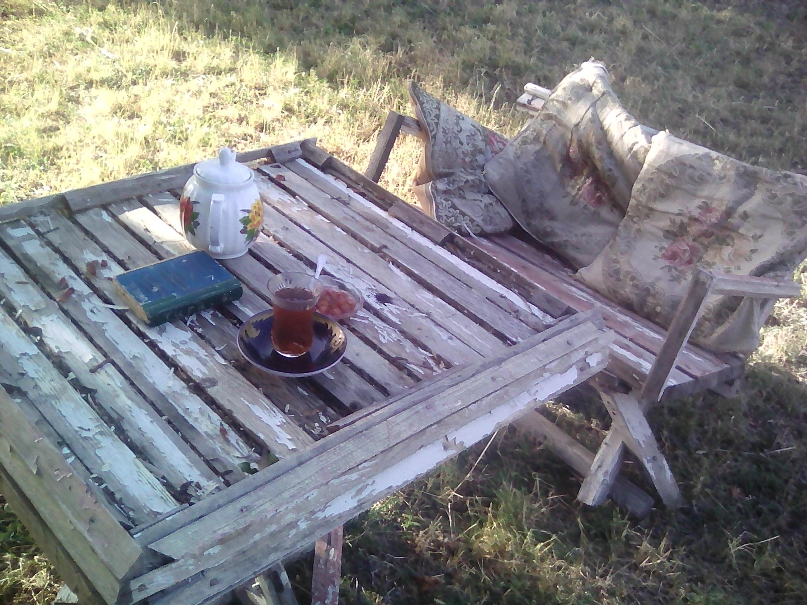 Bağ üçün masa ve oturacaq